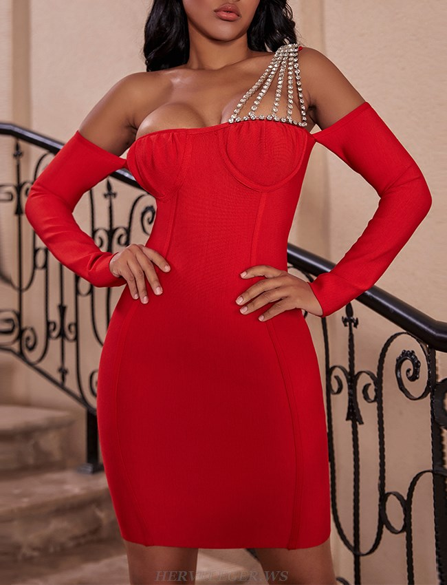 Herve Leger Red Embellished One Shoulder Long Sleeve Bardot Dress