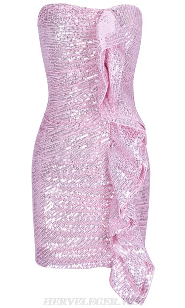 Herve Leger Pink Frill Sequin Strapless Ruched Dress