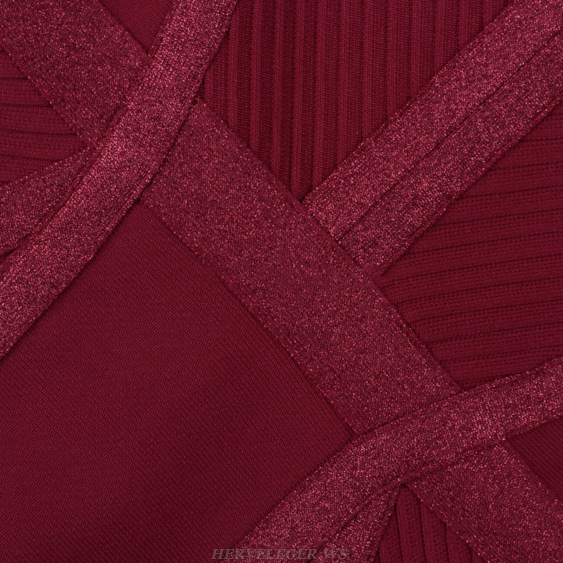 Herve Leger Burgundy Halter Sparkly Dress
