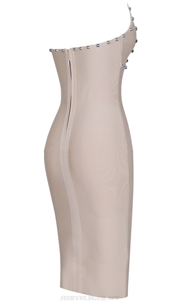 Herve Leger Nude Halter Studded Dress