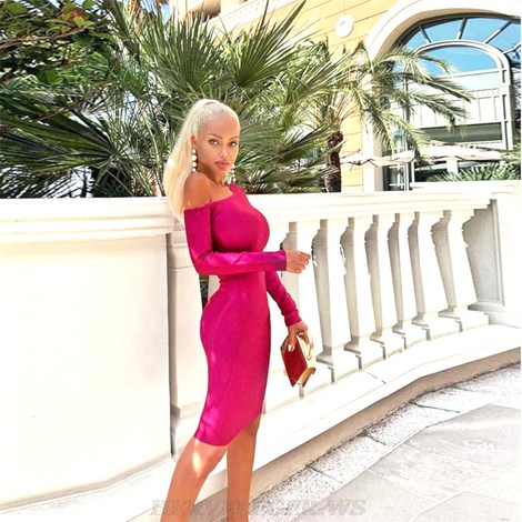 Herve Leger Hot Pink Long Sleeve Asymmetric Bardot Dress