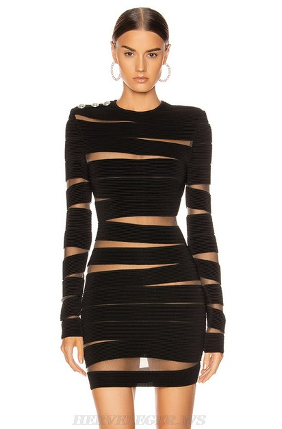Herve Leger Black Long Sleeve Asymmetric Mesh Dress