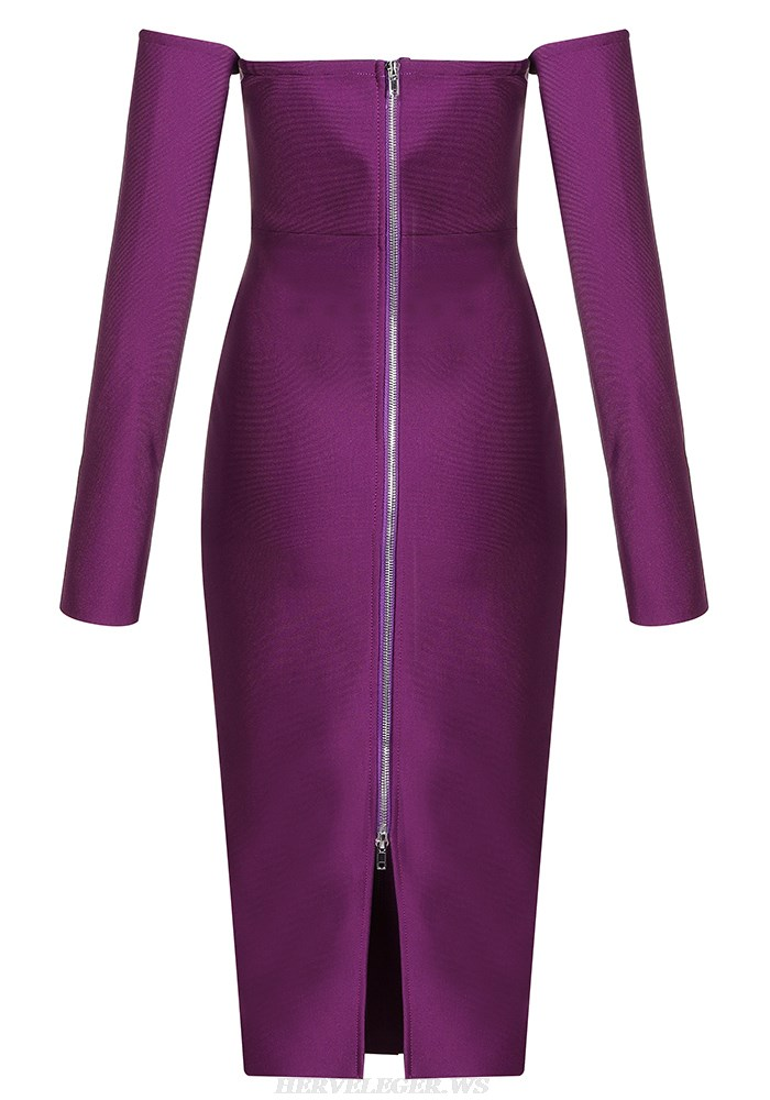 Herve Leger Purple Long Sleeve Bardot Dress