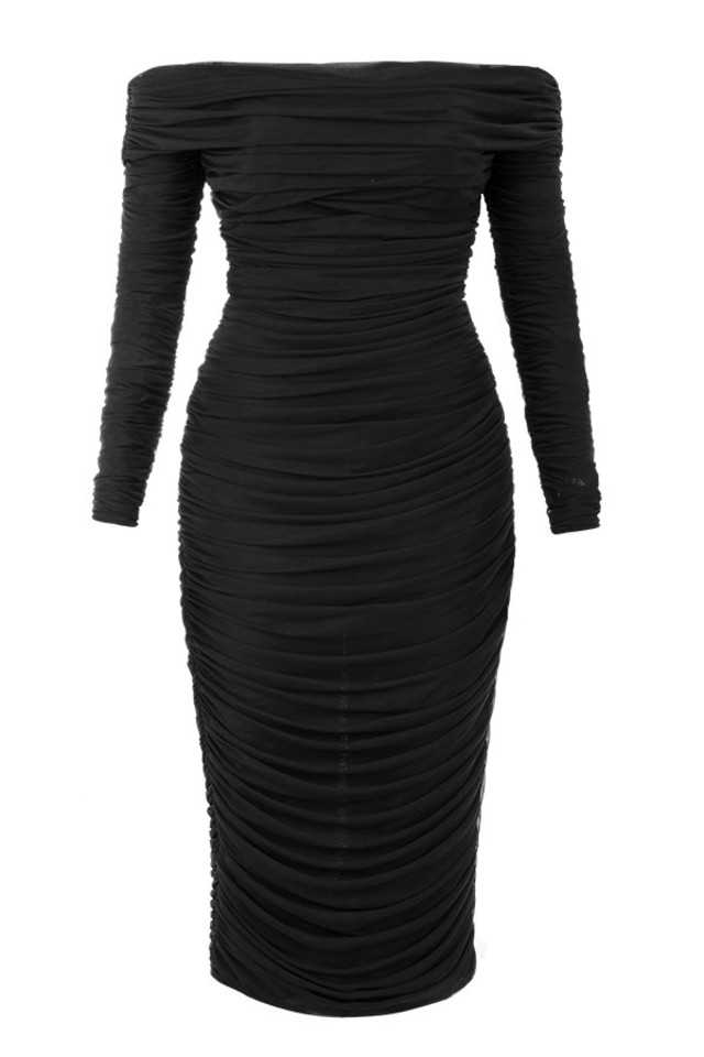 Herve Leger Black Long Sleeve Bardot Ruched Mesh Dress