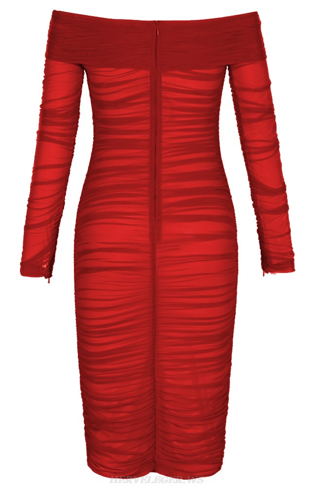 Herve Leger Red Long Sleeve Bardot Ruched Mesh Dress