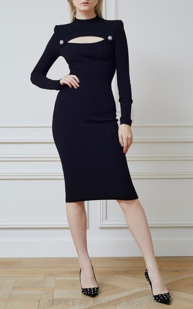 Herve Leger Black Long Sleeve Button Cut Out Dress
