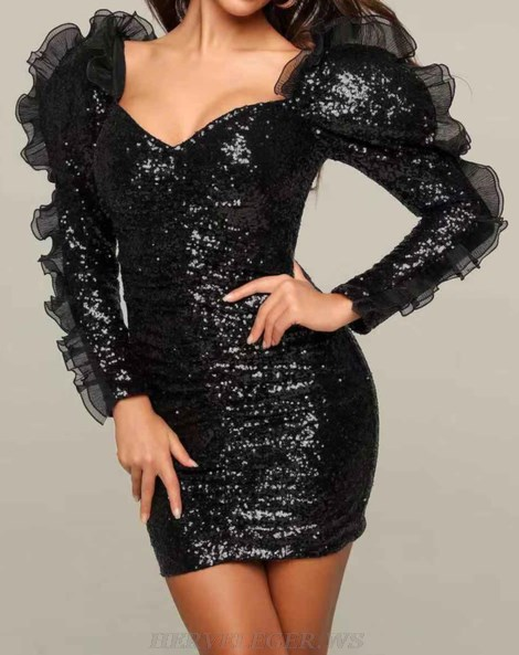 Herve Leger Black Long Sleeve Frill Sequin Dress