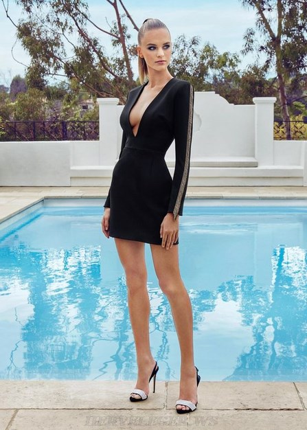 Herve Leger Black Long Sleeve Gold Trim Dress