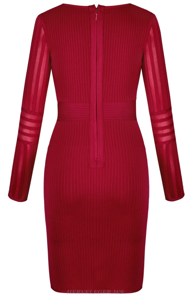 Herve Leger Red Long Sleeve Mesh Ribbed Dress
