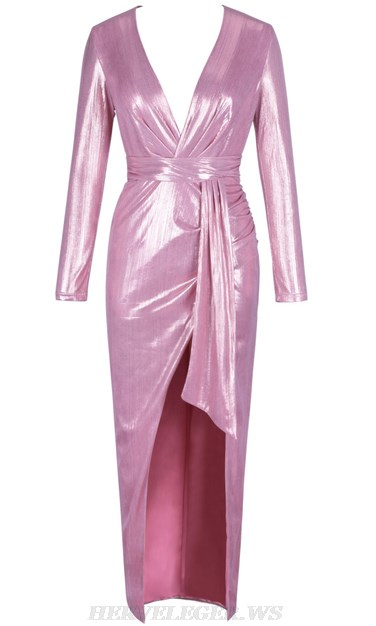 Herve Leger Pink Long Sleeve Metallic Gown