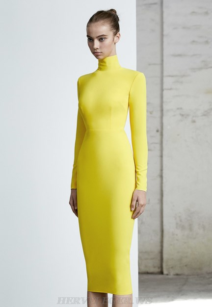 Herve Leger Yellow Long Sleeve Dress