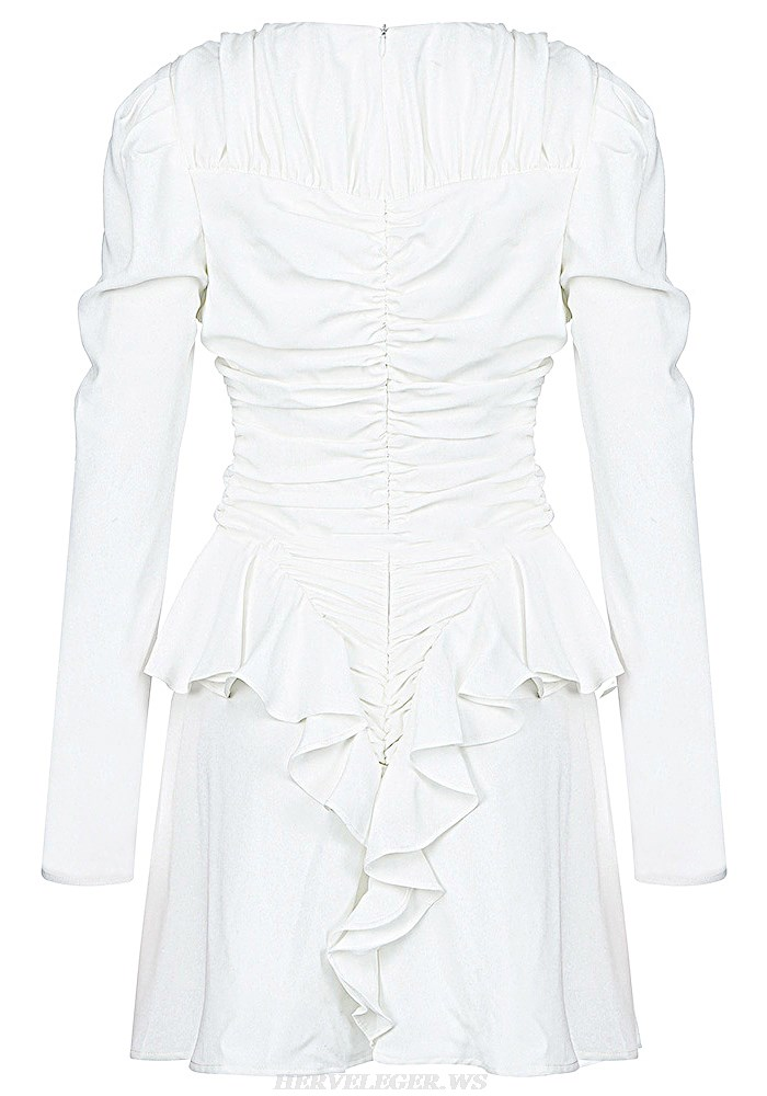 Herve Leger White Long Sleeve Ruched Dress