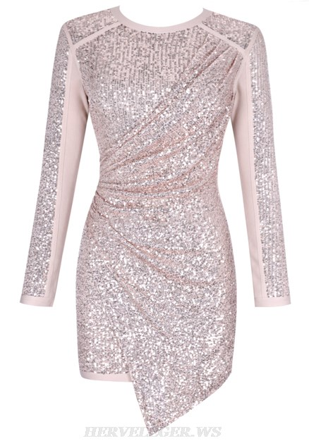 Herve Leger Nude Pink Long Sleeve Sequin Draped Dress