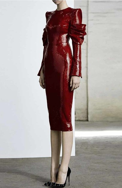 Herve Leger Red Long Sleeve Sequin Dress
