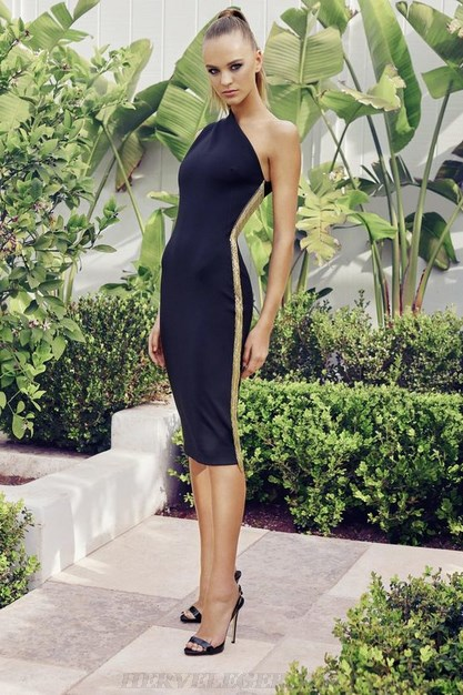 Herve Leger Black One Shoulder Gold Trim Dress
