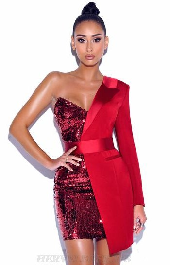 Herve Leger Red One Sleeve Sequin Blazer Dress