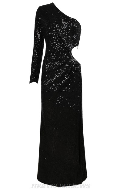 Herve Leger Black One Sleeve Sequin Evening Dress