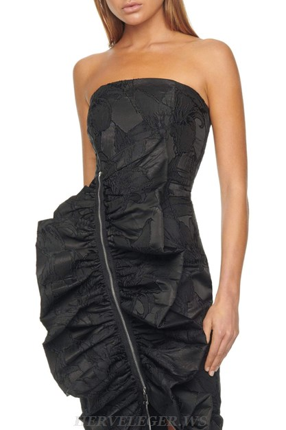 Herve Leger Black Strapless Frill Detail Lace Dress