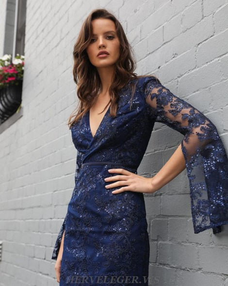 Herve Leger Blue Deep V Neck Trumpet Sleeve Sequin Lace Dress