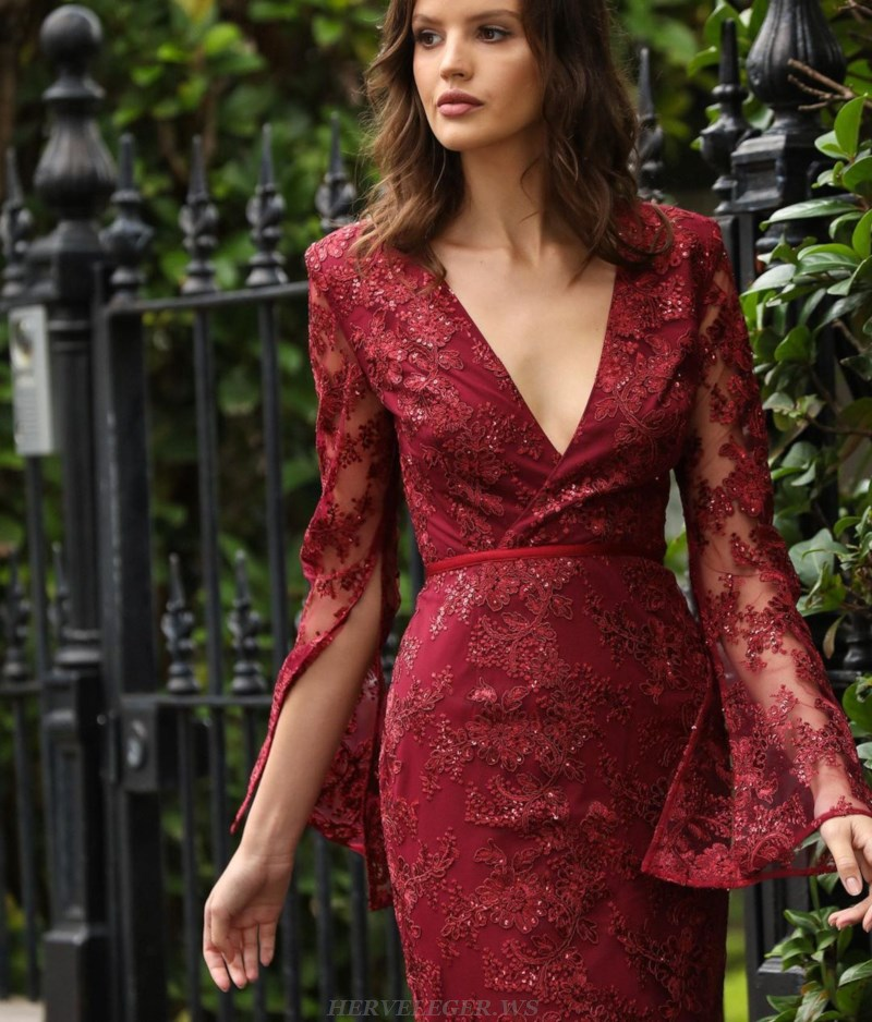Herve Leger Burgundy Deep V Neck Trumpet Sleeve Sequin Lace Dress
