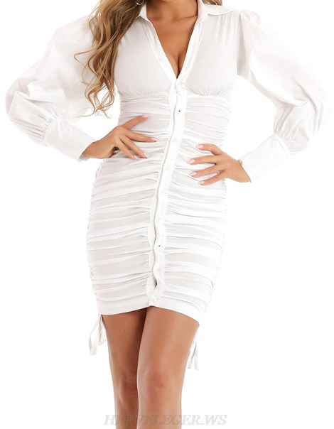 Herve Leger White Long Sleeve Ruched Shirt Dress