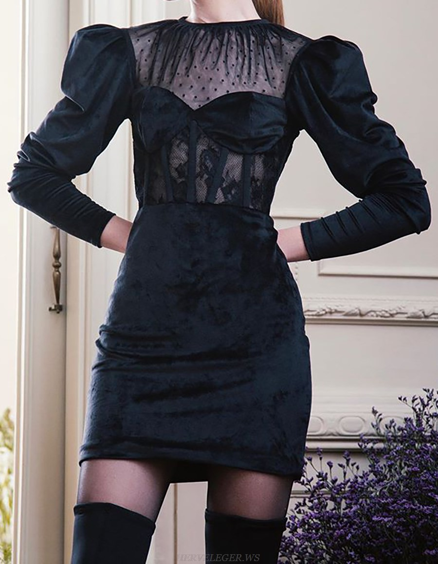 Herve Leger Black Long Sleeve Structured Lace Velvet Dress