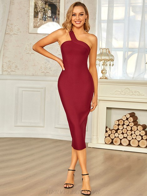 Herve Leger Burgundy One Shoulder Asymmetric Dress