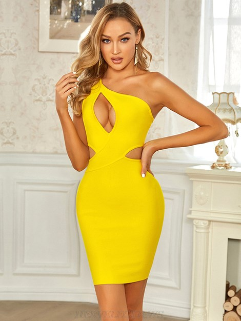 Herve Leger Yellow One Shoulder Dress
