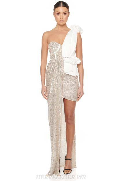 Herve Leger White Silver One Shoulder Draped Sequin Gown