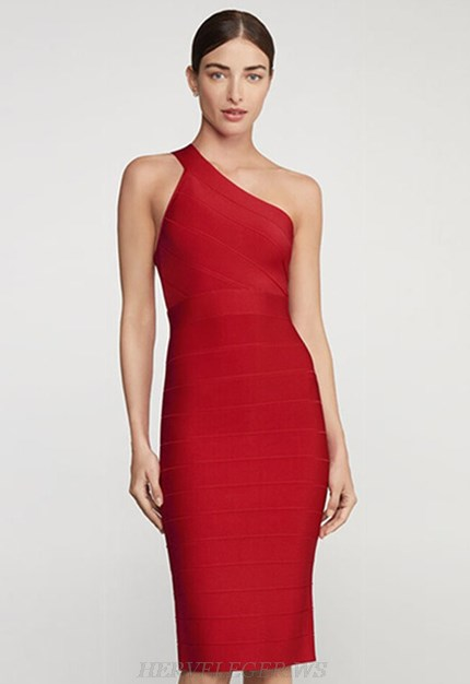 Herve Leger Red One Shoulder Dress