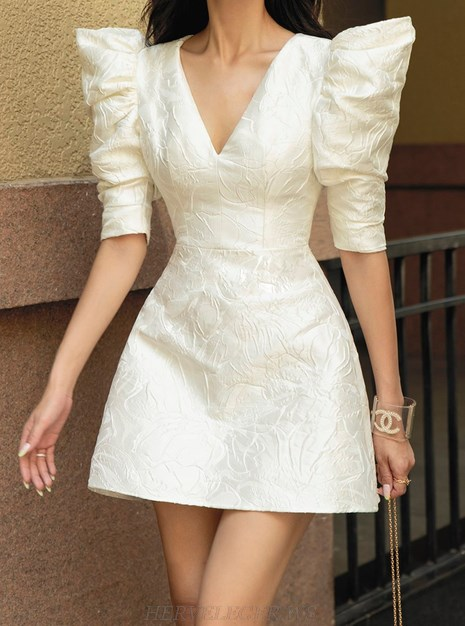 Herve Leger Ivory White Puff Short Sleeve A Line Dress