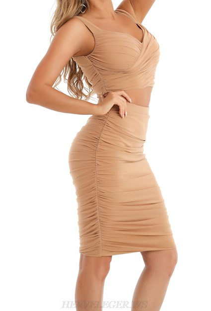 Herve Leger Nude Ruched Two Piece Dress