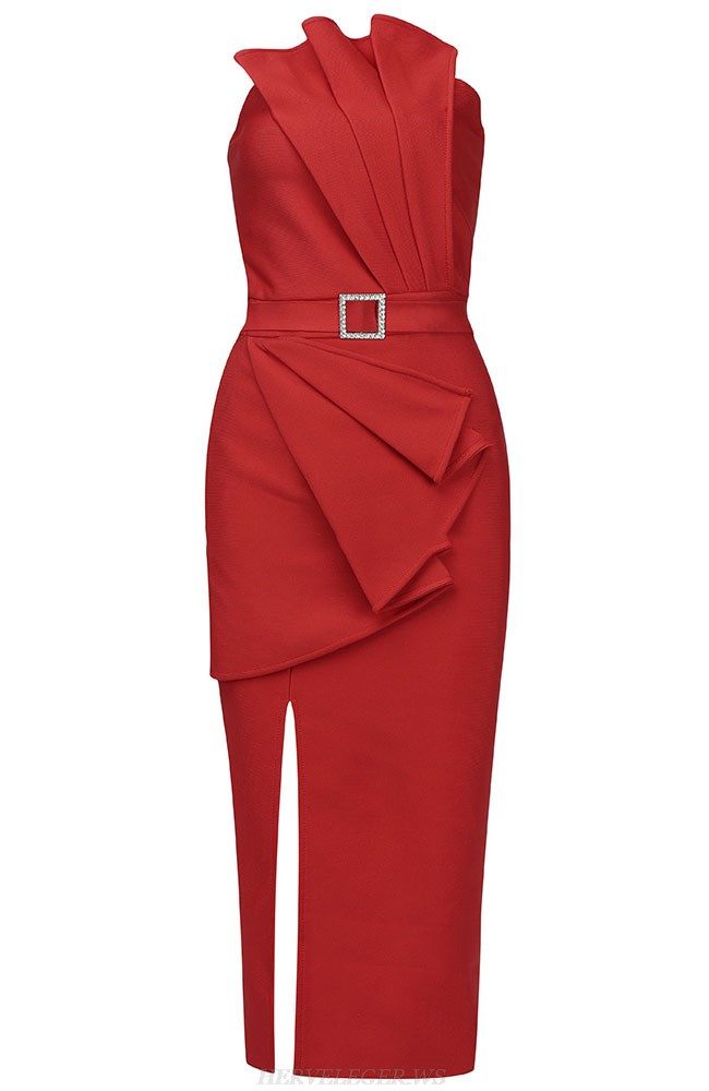 Herve Leger Red Strapless Draped Dress