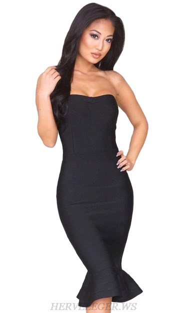 Herve Leger Black Strapless Bandeau Fluted Dress