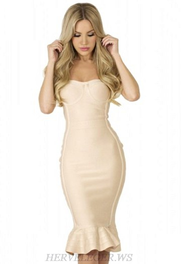 Herve Leger Nude Strapless Bandeau Fluted Dress
