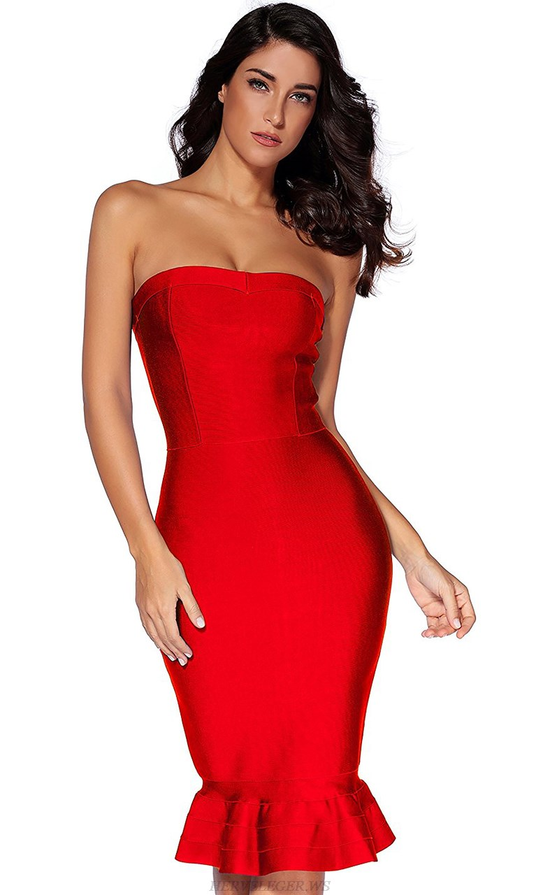 Herve Leger Red Strapless Bandeau Fluted Dress