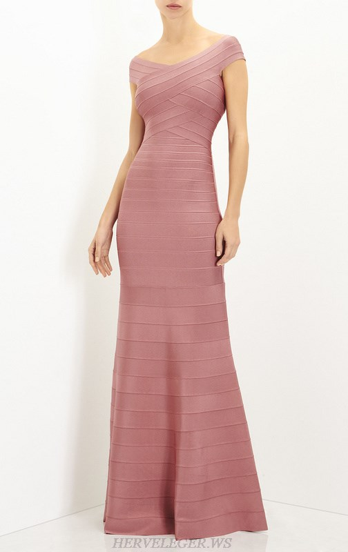 Herve Leger Pink Bardot Mermaid Evening Gown