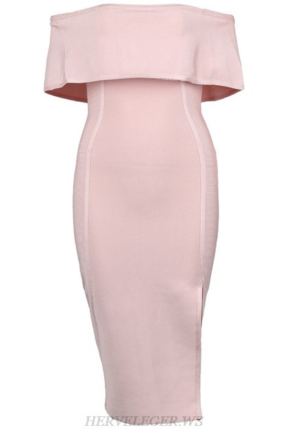 Herve Leger Nude Strapless Bardot Slit Dress