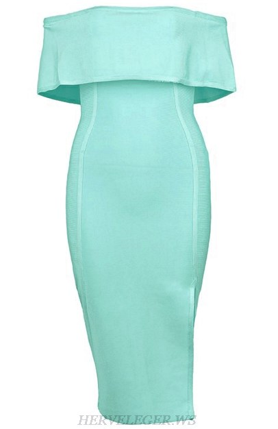 Herve Leger Turquoise Strapless Bardot Slit Dress