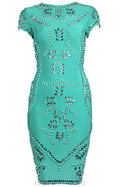 Herve Leger Green Embellished Dress