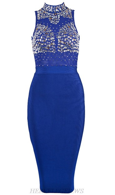 Herve Leger Blue Embellished Bodice Dress
