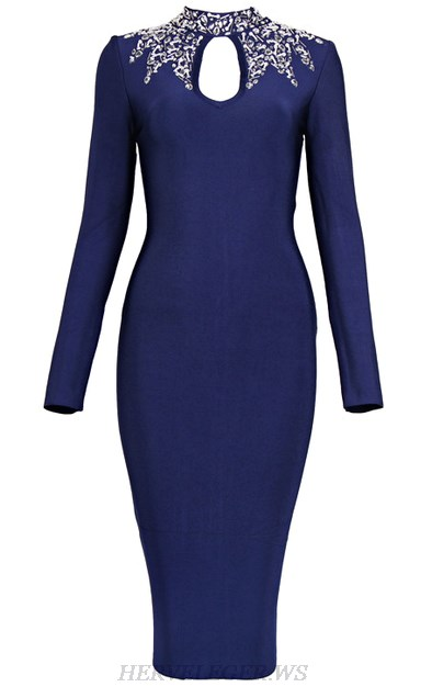 Herve Leger Blue Embellished Long Sleeve Dress