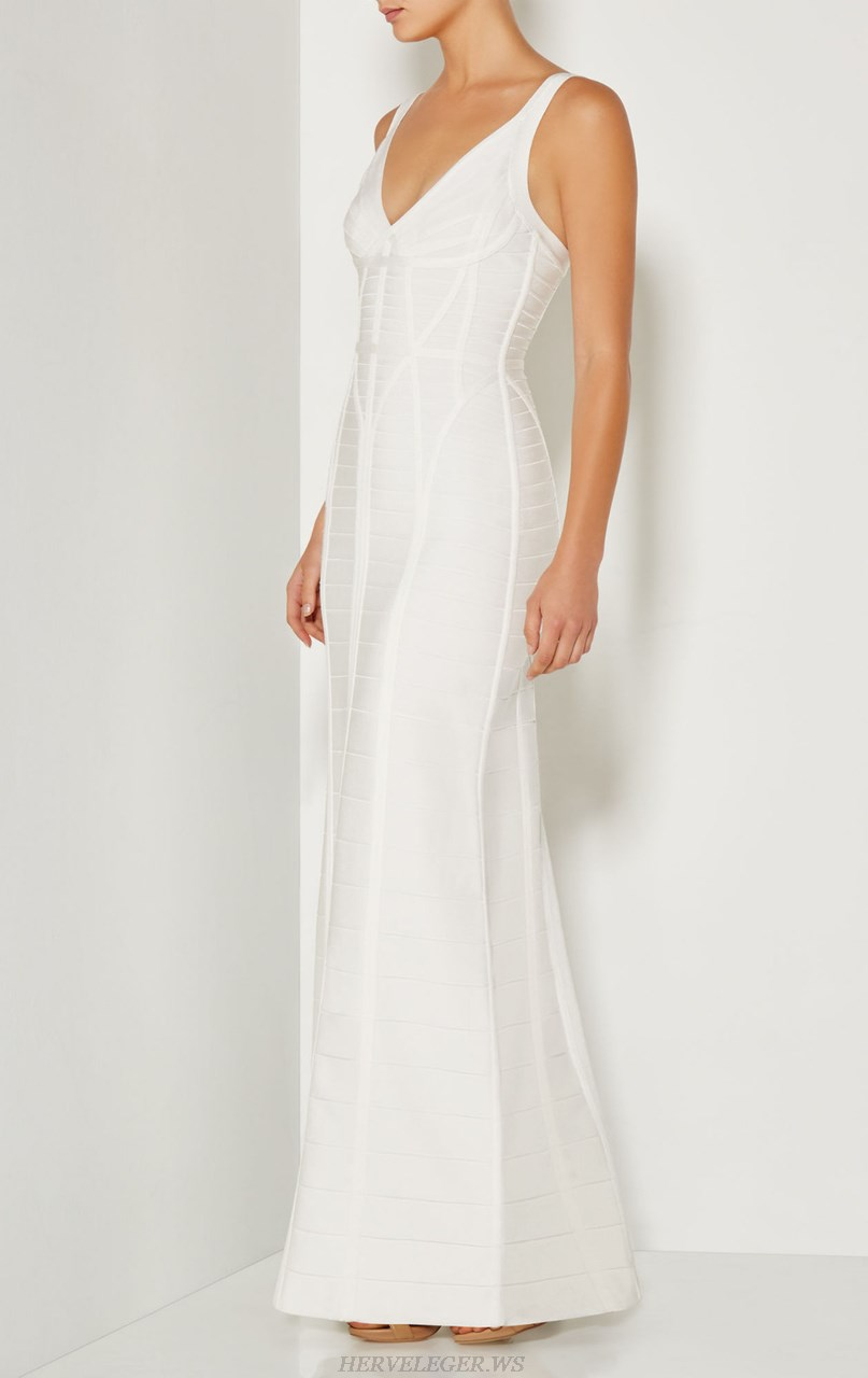 Herve Leger White Evening Gown