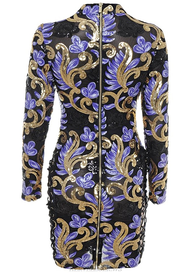 Herve Leger Black Gold And Purple Floral Sequined Dress