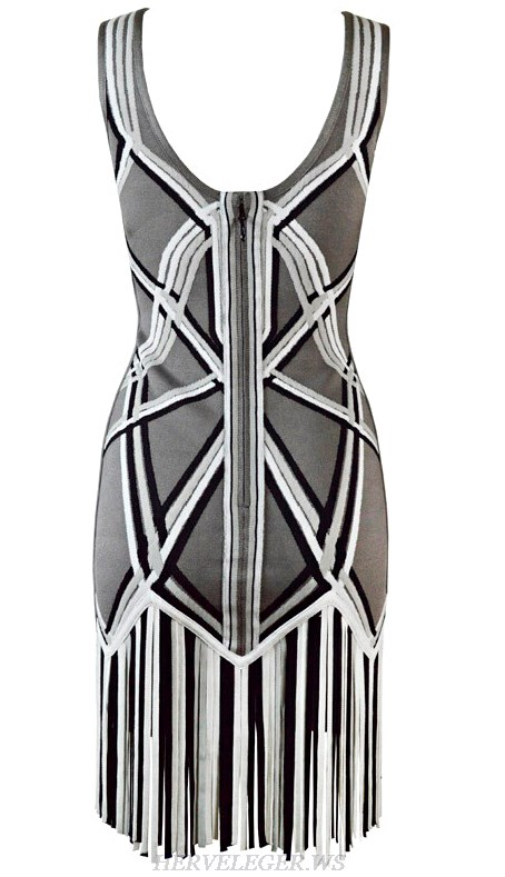 Herve Leger Grey Fringe Colorblock Dress