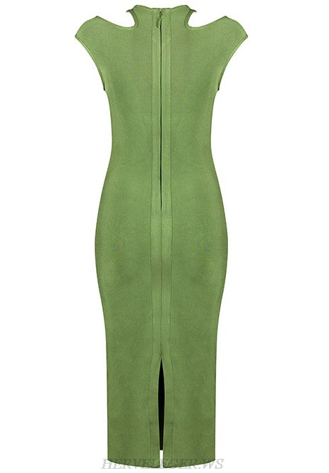 Herve Leger Green Halter Cut Out Dress