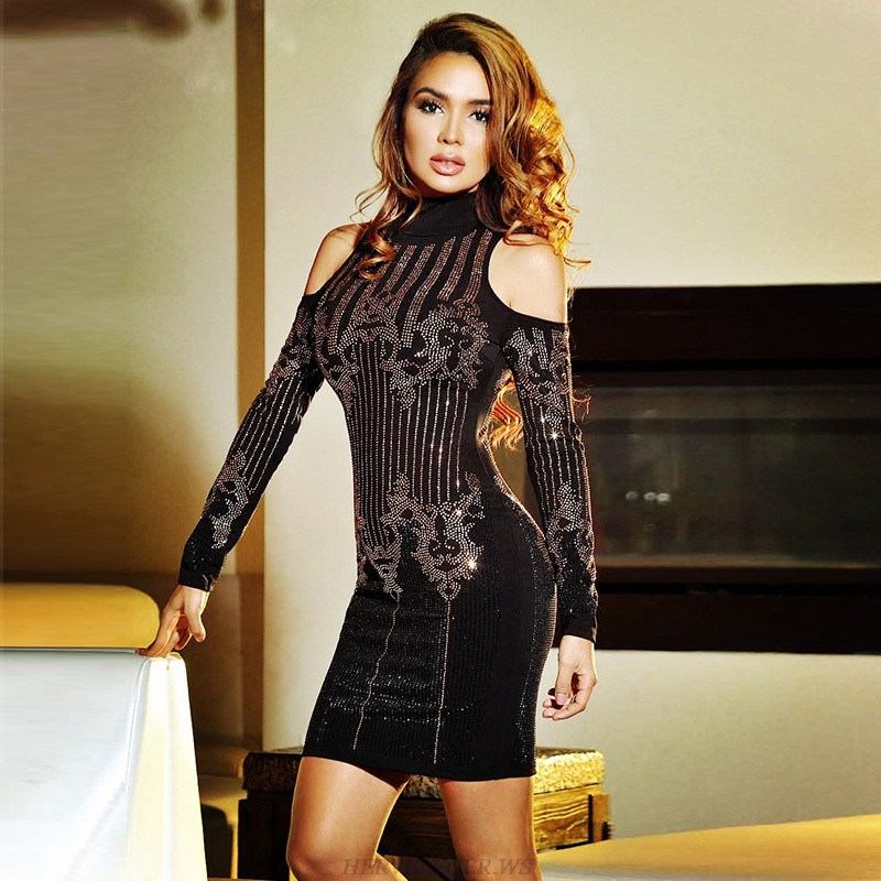 Herve Leger Black Long Sleeve Cold Shoulder Embellished Dress