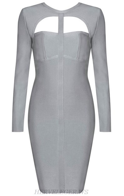 Herve Leger Grey Long Sleeve Cut Out Dress