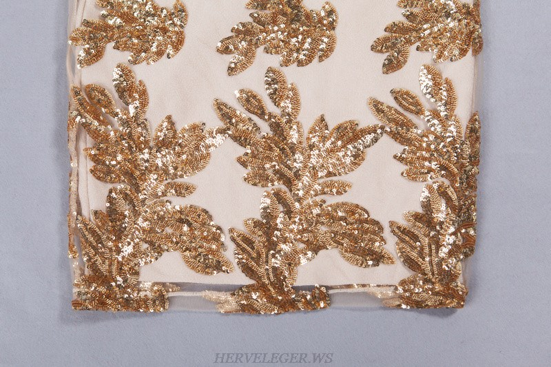 Herve Leger Gold And Nude Long Sleeve Sequin Dress