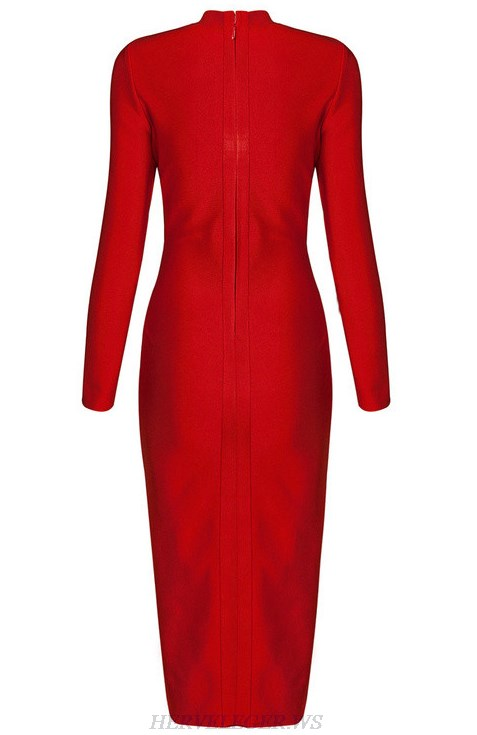 Herve Leger Red Long Sleeve Slit Dress
